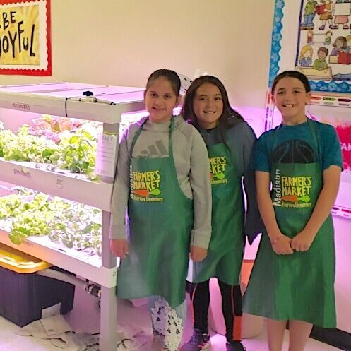 students in front of a hydroponic system